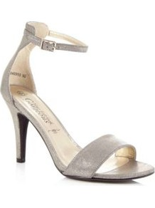 Silver Metallic Ankle Strap Sandals - predominant colour: silver; occasions: evening, occasion; material: fabric; heel height: high; embellishment: glitter; ankle detail: ankle strap; heel: stiletto; toe: open toe/peeptoe; style: standard; trends: metallics; finish: metallic; pattern: plain