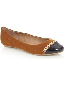 Wide Fit Tan Metal Chain Patent Toe Pumps - secondary colour: navy; predominant colour: tan; occasions: casual; material: faux leather; heel height: flat; toe: round toe; style: ballerinas / pumps; finish: patent; pattern: colourblock; embellishment: chain/metal