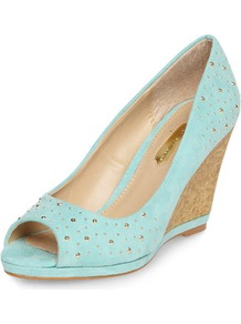 Blue Studded Cork Wedges - predominant colour: pale blue; occasions: casual, evening, holiday; material: fabric; heel height: high; embellishment: studs; heel: wedge; toe: open toe/peeptoe; style: courts; finish: plain; pattern: plain