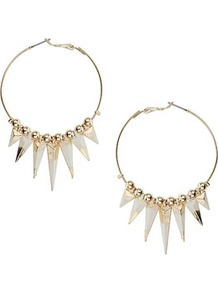 Two Tone Spike Hoops - secondary colour: ivory; predominant colour: gold; occasions: casual, evening, holiday; style: hoop; length: mid; size: standard; material: chain/metal; fastening: pierced; finish: plain; embellishment: beading