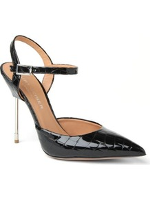 Yasmin Patent Leather Sling Back Sandals - predominant colour: black; occasions: evening, occasion; material: leather; heel height: high; ankle detail: ankle strap; heel: stiletto; toe: pointed toe; style: courts; finish: patent; pattern: animal print