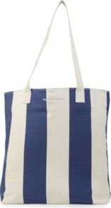 Candy Tote - secondary colour: white; predominant colour: navy; occasions: casual, holiday; type of pattern: standard; style: shoulder; length: shoulder (tucks under arm); size: standard; material: fabric; finish: plain; pattern: vertical stripes