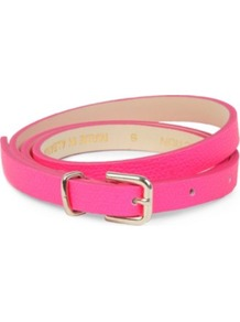 Pop Waisted Belt - predominant colour: hot pink; occasions: casual, evening, occasion; type of pattern: light; style: classic; size: skinny; worn on: waist; material: leather; pattern: plain; trends: fluorescent; finish: plain