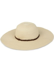 Floppy Plaited Hat - secondary colour: chocolate brown; predominant colour: stone; occasions: casual, holiday; style: sunhat; size: large; material: macrame/raffia/straw; embellishment: ribbon; pattern: plain