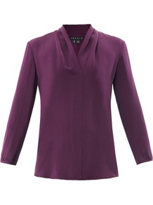 Helona Silk Blouse - neckline: v-neck; pattern: plain; style: blouse; predominant colour: aubergine; occasions: evening; length: standard; fibres: silk - 100%; fit: straight cut; sleeve length: long sleeve; sleeve style: standard; texture group: crepes; pattern type: fabric