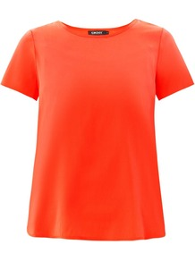 Scoop Neck Silk Blouse - pattern: plain; predominant colour: coral; occasions: casual, evening, occasion; length: standard; style: top; fit: loose; neckline: crew; sleeve length: short sleeve; sleeve style: standard; texture group: silky - light; pattern type: fabric; fibres: silk - stretch