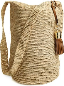 Hobo Bag - predominant colour: stone; occasions: casual, holiday; length: across body/long; size: standard; material: macrame/raffia/straw; pattern: plain; finish: plain; style: hobo
