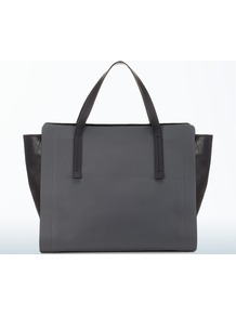 East West Tote - predominant colour: charcoal; secondary colour: black; occasions: casual, work; type of pattern: standard; style: tote; length: handle; size: oversized; material: leather; finish: plain; pattern: colourblock