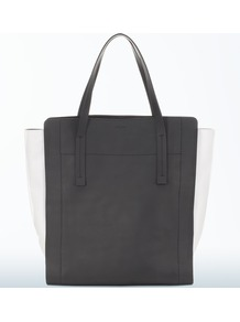North South Tote - secondary colour: ivory; predominant colour: black; occasions: casual, work; type of pattern: standard; style: tote; length: handle; size: standard; material: leather; pattern: plain; finish: plain