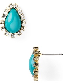 Teardrop Stud Earrings - predominant colour: turquoise; occasions: casual, evening, work, occasion; style: stud; length: short; size: small; material: chain/metal; fastening: pierced; finish: plain; embellishment: jewels; secondary colour: clear