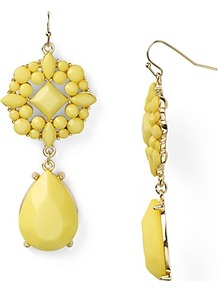 Double Drop Earrings - predominant colour: yellow; secondary colour: gold; occasions: evening, occasion; style: drop; length: long; size: standard; material: chain/metal; fastening: pierced; finish: plain; embellishment: crystals