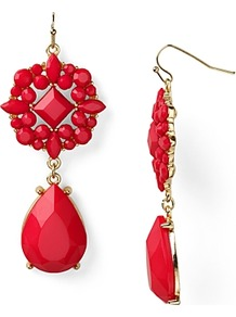 Double Drop Earrings - predominant colour: true red; secondary colour: gold; occasions: evening, occasion; style: drop; length: mid; size: standard; material: chain/metal; fastening: pierced; finish: plain; embellishment: jewels