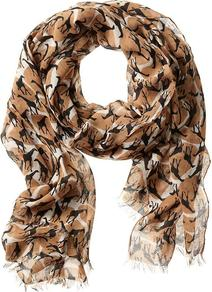 Heritage Giraffe Scarf - predominant colour: camel; occasions: casual; type of pattern: standard; style: regular; size: standard; material: fabric; pattern: animal print