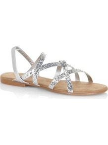Glittery Strappy Sandals - predominant colour: silver; occasions: casual, evening, holiday; material: faux leather; heel height: flat; embellishment: glitter; heel: block; toe: open toe/peeptoe; style: strappy; trends: metallics; finish: metallic; pattern: plain