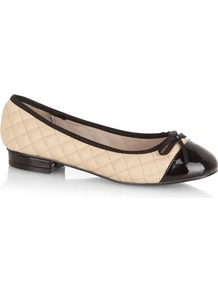 Nude Quilted Pumps - predominant colour: ivory; secondary colour: black; occasions: casual, evening, work; material: faux leather; heel height: flat; embellishment: quilted; toe: round toe; style: ballerinas / pumps; finish: plain; pattern: colourblock