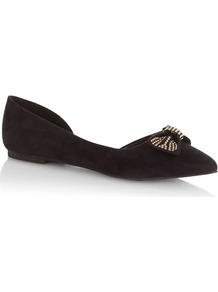 Black Studded Bow Pumps - secondary colour: gold; predominant colour: black; occasions: casual, evening, work; material: fabric; heel height: flat; embellishment: studs; toe: pointed toe; style: ballerinas / pumps; finish: plain; pattern: plain