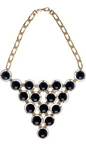 Statement Ball Necklace - secondary colour: gold; predominant colour: black; occasions: evening, occasion, holiday; style: choker/collar; length: short; size: large/oversized; material: chain/metal; finish: plain; embellishment: beading