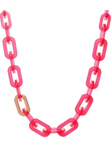 Ted Baker Jacey Chain Necklace - predominant colour: hot pink; secondary colour: gold; occasions: casual, evening, holiday; style: standard; length: mid; size: standard; material: plastic/rubber; trends: fluorescent; finish: plain
