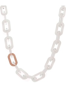 Ted Baker Jacey Chain Necklace - predominant colour: white; secondary colour: gold; occasions: casual, evening, holiday; style: standard; length: long; size: large/oversized; material: chain/metal