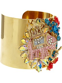 Celebrate Elephant Cuff Bracelet - predominant colour: gold; occasions: casual, evening, occasion, holiday; style: cuff; size: large/oversized; material: chain/metal; trends: metallics; finish: metallic; embellishment: jewels