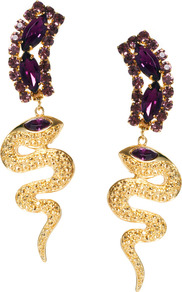 Gem Snake Drop Earring - secondary colour: purple; predominant colour: gold; occasions: evening, occasion, holiday; style: drop; length: long; size: large/oversized; material: chain/metal; fastening: pierced; trends: metallics; finish: metallic; embellishment: crystals