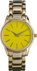Pop Boyfriend Watch - predominant colour: lime; secondary colour: gold; occasions: casual, work; style: boyfriend; size: standard; material: chain/metal; finish: metallic; pattern: colourblock