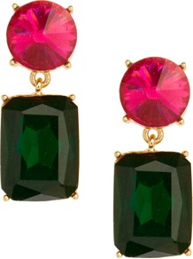 Colour Drop Earrings - secondary colour: hot pink; predominant colour: dark green; occasions: evening, occasion, holiday; style: drop; length: mid; size: standard; material: chain/metal; fastening: pierced; finish: plain; embellishment: jewels