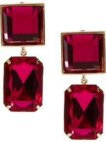 Square Gem Earrings - predominant colour: burgundy; occasions: evening, occasion, holiday; style: drop; length: long; size: large/oversized; material: chain/metal; fastening: pierced; finish: metallic; embellishment: jewels