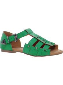 Fazed Gladiators - predominant colour: emerald green; occasions: casual, holiday; material: faux leather; heel height: flat; embellishment: studs; ankle detail: ankle strap; heel: block; toe: open toe/peeptoe; style: gladiators; finish: plain; pattern: plain