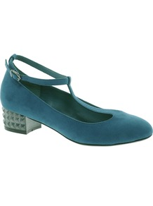 Simmer Heels - predominant colour: teal; secondary colour: black; occasions: evening, work, occasion; material: suede; heel height: mid; embellishment: studs; ankle detail: ankle strap; heel: block; toe: round toe; style: t-bar; finish: plain; pattern: plain