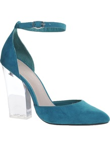 Prayer Pointed High Heels - predominant colour: teal; occasions: evening, work, occasion; material: suede; heel height: high; ankle detail: ankle strap; heel: block; toe: pointed toe; style: courts; finish: plain; pattern: colourblock; secondary colour: clear