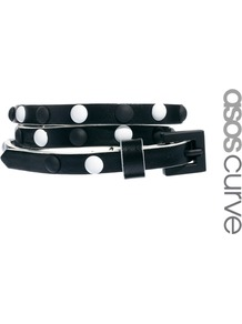 Curve Monochrome Stud Skinny Waist Belt - secondary colour: white; predominant colour: black; occasions: casual, evening, work, occasion, holiday; type of pattern: light; style: classic; size: skinny; worn on: waist; material: faux leather; embellishment: studs; pattern: plain; finish: plain