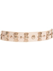 Fan Detail Plate Belt - predominant colour: nude; secondary colour: gold; occasions: evening, work, occasion, holiday; type of pattern: standard; style: elasticated; size: standard; worn on: waist; material: faux leather; embellishment: studs; pattern: plain; trends: metallics; finish: plain