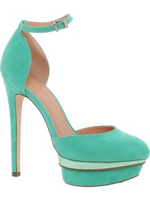 Parody Platforms - predominant colour: turquoise; secondary colour: pistachio; occasions: evening, occasion; material: fabric; ankle detail: ankle strap; heel: platform; toe: round toe; style: courts; finish: plain; pattern: colourblock; heel height: very high