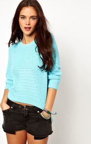 Jumper - neckline: round neck; sleeve style: raglan; pattern: plain; style: standard; predominant colour: turquoise; occasions: casual; length: standard; fibres: cotton - mix; fit: standard fit; sleeve length: 3/4 length; texture group: knits/crochet; trends: fluorescent; pattern type: knitted - other