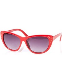 Cateye Sunglasses With Stud Detail Multi - predominant colour: true red; secondary colour: purple; occasions: casual, holiday; style: cateye; size: standard; material: plastic/rubber; embellishment: studs; pattern: plain; finish: plain