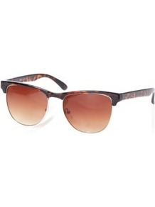 Retro Sunglasses Conker - predominant colour: chocolate brown; secondary colour: tan; occasions: casual, holiday; style: d frame; size: standard; material: plastic/rubber; pattern: tortoiseshell; finish: plain