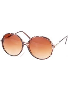 Oversized Circular Sunglasses Sand - predominant colour: chocolate brown; secondary colour: gold; occasions: casual, holiday; style: round; size: large; material: plastic/rubber; pattern: tortoiseshell; finish: plain