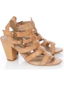 Gladiator Block Heels Wheat - predominant colour: camel; occasions: casual, evening, occasion, holiday; material: faux leather; heel height: mid; embellishment: buckles; ankle detail: ankle strap; heel: block; toe: open toe/peeptoe; style: strappy; finish: plain; pattern: plain
