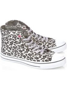 Animal Print High Tops Ash - secondary colour: white; predominant colour: charcoal; occasions: casual; material: fabric; heel height: flat; heel: standard; toe: round toe; boot length: ankle boot; style: high top; trends: sporty redux; finish: plain; pattern: animal print; embellishment: toe cap