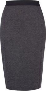 Jersey Pencil Skirt With Contrast Waistband Ash - pattern: plain; style: pencil; fit: tight; waist detail: elasticated waist; waist: high rise; predominant colour: charcoal; occasions: evening, work; length: on the knee; fibres: polyester/polyamide - stretch; texture group: jersey - clingy; pattern type: fabric