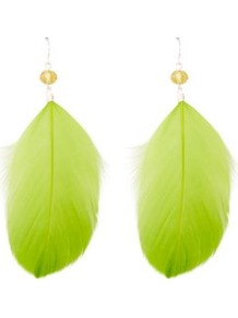 Feather Drop Earrings Emerald - predominant colour: lime; occasions: casual, evening, holiday; style: drop; length: long; size: large/oversized; material: chain/metal; fastening: pierced; trends: fluorescent; finish: plain; embellishment: feathers