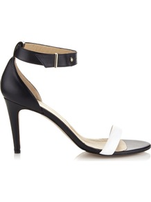 Cafe Royal Skinny Two Part Sandal - secondary colour: white; predominant colour: black; occasions: evening, occasion; material: leather; heel height: mid; ankle detail: ankle strap; heel: stiletto; toe: open toe/peeptoe; style: standard; finish: plain; pattern: colourblock