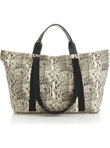 Snake Print Canvas Bag - predominant colour: stone; secondary colour: black; occasions: casual, holiday; type of pattern: standard; style: tote; length: handle; size: oversized; material: fabric; pattern: animal print; finish: plain