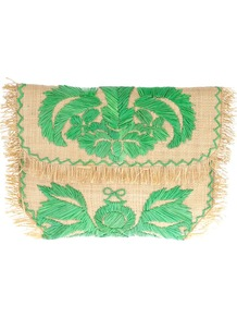Woven Embroidered Clutch - predominant colour: emerald green; secondary colour: nude; occasions: casual, evening, occasion, holiday; type of pattern: standard; style: clutch; length: hand carry; size: small; material: macrame/raffia/straw; embellishment: embroidered; finish: plain; pattern: patterned/print