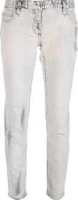 Distressed Skinny Jean - style: skinny leg; pattern: plain; waist: low rise; pocket detail: traditional 5 pocket; predominant colour: white; secondary colour: mid grey; occasions: casual, evening; length: ankle length; fibres: cotton - stretch; jeans detail: washed/faded; texture group: denim; pattern type: fabric