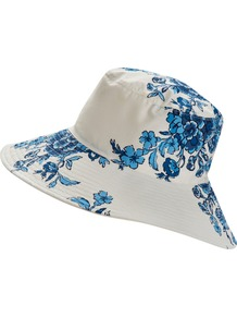 Bouquet Celia Reversible Cotton Garden Sun Hat - secondary colour: white; predominant colour: diva blue; occasions: casual, holiday; type of pattern: standard; style: sunhat; size: standard; material: fabric; pattern: florals