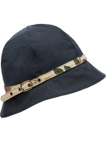 Summer Wax Cloche Hat, Navy, Medium - predominant colour: navy; occasions: casual, holiday; type of pattern: light; style: cloche; size: standard; material: fabric; pattern: patterned/print