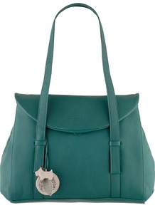 Sherwood Large Flap Over Tote Bag - predominant colour: teal; occasions: casual, work; style: tote; length: handle; size: standard; material: leather; pattern: plain; finish: plain