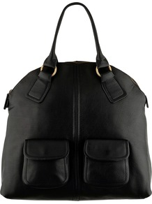 Whiston Large Zip Grab Handbag - predominant colour: black; occasions: work; style: tote; length: handle; size: standard; material: leather; pattern: plain; finish: plain